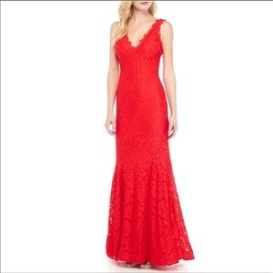 Betsy Adams Red Lace Dress